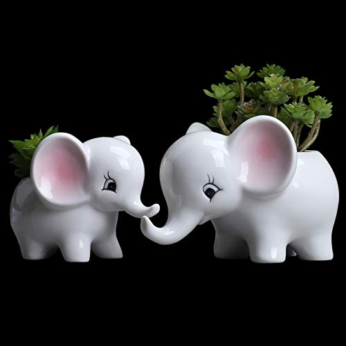 (Ogrmar 2PCS Elephant Plant Window Boxes Cute Elephant Flower Pot/Modern White Ceramic Succulent Planter Pots/Tiny Flower Plant Containers Animal Decor)