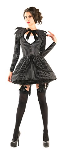 Jack Skellington Female Costume (Party King Women's Bad Dreams Babe Sexy Costume Dress, Black,)