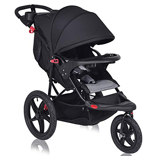 Costzon Baby Jogger Stroller, All Terrain Lightweight Fitness Jogging Stroller w Parental Cup Phone Holder, Free Tractive Webbing, Large Storage Basket Deluxe Black