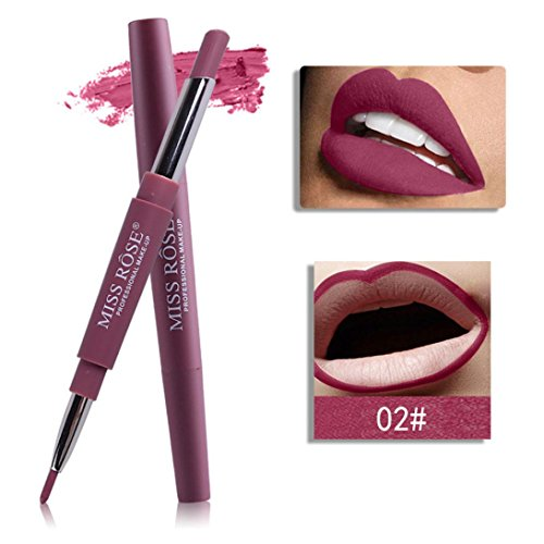 Honhui Miss Rose Womens Double-end Lasting Waterproof Lip Liner Lipstick Pencil 8 Color (B)
