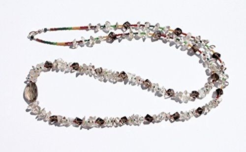 Crystal Necklace Smoky Quartz Yoga Mala Inspired Rainbow