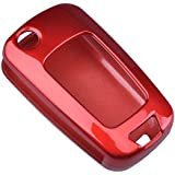 Red Remote Flip Paint Metallic Key Case Shell Cover Key Fob Skin Covers for Chevrolet GMC Buick Lacrosse Verano Regal Replacement Key Shell Case Fob