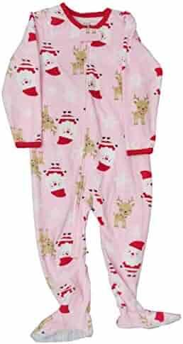 1eb0dc952 Carter's Infant Girls Pink Fleece Santa Sleeper Holiday Christmas Pajamas