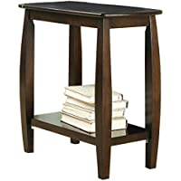 Turned Legs Melanie Rectangular End Table in Walnut 24 H x 12 W x 23.5 D