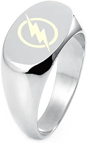 Sterling Silver DC Flash Logo Engraved Oval Flat Top Polished Ring
