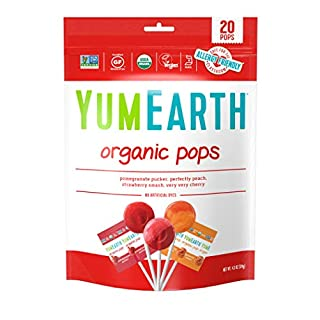 YumEarth Organic Lollipops, Assorted Flavors, 4.3 Ounce, 20 Lollipops - Allergy Friendly, Non GMO, Gluten Free, Vegan, (Packaging May Vary)