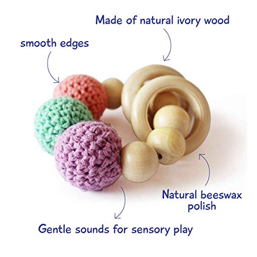 Shumee Wooden Rattle Ring and Teething Toy for Infants, Babies(0 - 1 Year) - Organic, Natural, Grasping, Clutching Montessori Shake Toy - Polished with Beeswax