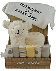 Baby Unisex Gift: Blanket, Washcloth Set of 6, Onesie They Did Not Stay 6 Feet Apart