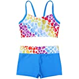 MSemis Girls 2PCS Heart-Shaped Pattern Swimwear Bating Suit Set Tops Swimsuit