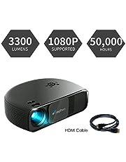 Beamer HD, ELEPHAS 1080P LCD Video Projektor mit 3300 Lumen, unterstützt HDMI USB VGA Laptop Smartphone, Ideal für Office Heimkino Entertainment Gaming Party