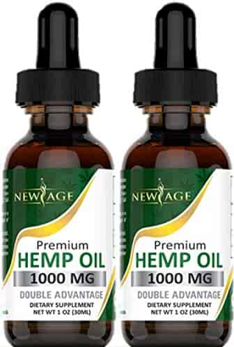 (2-Pack) Hemp Oil Extract for Pain, Anxiety & Stress Relief - 1000mg of Organic Hemp Extract - Grown & Made in USA - 100% Natural Hemp Drops - Helps with Sleep, Skin & Hair.