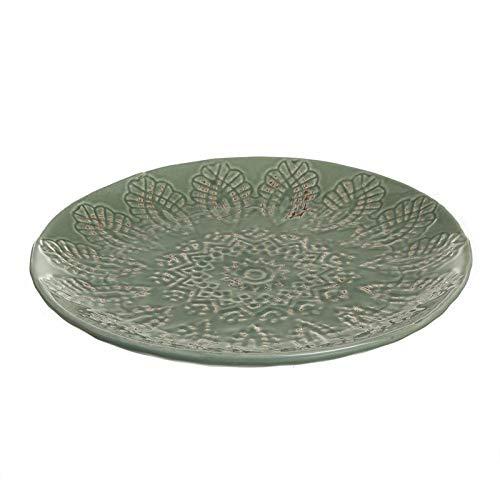 Hogar Deco Centro de Mesa Comedor y Salon Decorativo Ceramica Redondo Verde 25 cm