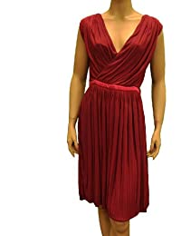Red / Purple Acetate Knee Length Dress. Gucci