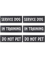 Lnrkai 6PCS Reflective Dog Patch with Hook Backing, Detachable Dog Patches for Service Vest Dog Harness, Reflective and Removable Dog Tags Durable and Interchangeable-Multiple Styles (Combination 1)