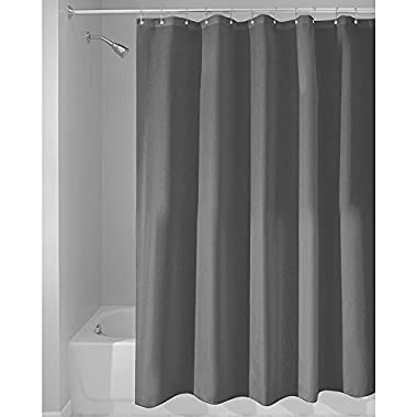 InterDesign Mildew-Free Water-Repellent Fabric Shower Curtain, Long, 72-Inch by 84-Inch, Charcoal