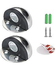 Magnetische deurstopper, zelfklevend, voor muur of vloer, deurstopper van roestvrij staal, voorkomt dat de muur, voor thuis en op kantoor [2 stuks, zilver]