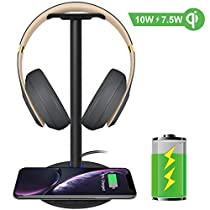 Fast Wireless Charger with Headphone Stand New bee 2-in-1 10W Wireless Charger Pad & Headset Holder for iPhone Xs MAX/XR/XS/X/8/8 Plus Galaxy Note 9/S9/S9 Plus/Note 8/S8 (No AC Adapter)