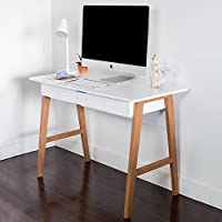 Wood Computer Desk with Drawer - Great for Home Office, Small Spaces - Sturdy Solid Wooden Base - Use as a Writing Desk, Makeup Vanity, or a Console Table, White Modern Finish, Light Wood Legs