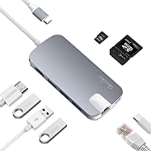 QacQoc GN30H USB C Hub,Aluminum Type C Adapter with USB-C Charging Port, Ethernet, 4K HDMI, 3 USB 3.0 Ports, SD/TF Card Reader for 2016/2017 MacBook Pro,2015/2016 MacBook, Chromebook and more (Gray)