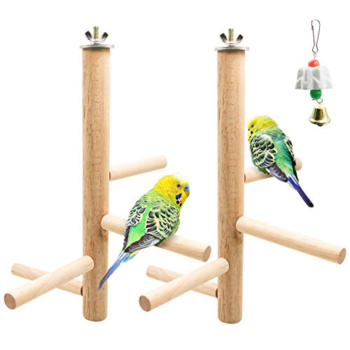 S-Mechanic 2pcs Bird Perch Nature Wood Top Wooden Branches Stand Toys in Bird Cage for 3 or 4 Small Medium Parrots,Budgies,Parakeet,Cockatiels,Conure,Lovebirds