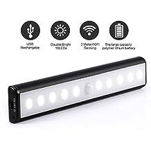 Portable 10-LED Motion Sensor Light USB Charging Closet Cabinet Sensor Lamp Cabinet LED Night Light / Stairs Light / Step Light Bar (Battery Operated) for Stairway Bedroom, Baby Room (black)