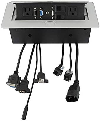 Amazon.com: Zeshan Pop up Outlet Desktop Connection Box with 2 Independent Power, USB, RJ45, VGA, HDMI, 3.5mm Audio for Office Silver: Electronics