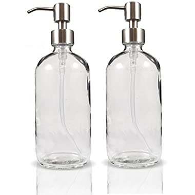 16-Ounce Clear Glass Boston Round Bottles w/ Stainless Steel Pumps (2 pack), Great for Essential Oils, Lotions, Liquid Soaps