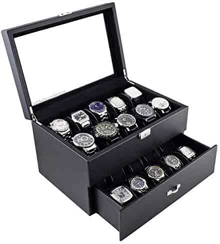 Caddy Bay Collection Carbon Fiber Pattern Glass Top Watch Case Display Storage Box Chest Holds 20 Watches with High Depth for Larger Watches