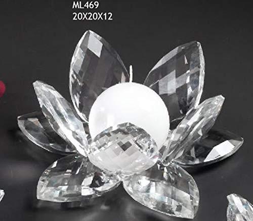 Fiore Ninfea GRANDE da 20 cm in vetro tipo cristallo PORTACANDELA PORTA CANDELA BOMBONIERA MATRIMONIO