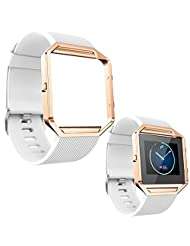 Fitbit Blaze Accessories, TOOPOOT Watchband + Metal Frame For Fitbit Blaze (white)