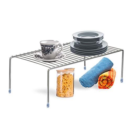 Plantex Stainless Steel Multipurpose Dish Rack/Storage Shelves for Kitchen Cabinets/Plate Stand/Utensil Rack (Chrome-Silver)