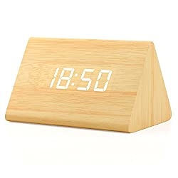 OCT17 Wooden Wood Clock, 2018 New Version LED Alarm Digital Desk Clock 3 Levels Adjustable Brightness, 3 Groups of Alarm Time, Displays Time Date Temperature - Bamboo (White Light)