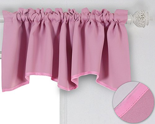 Deconovo Solid Color Short Curtains Rod Pocket Curtains Scalloped Blackout Valance for Living Room 42 X 18 Inch Pink 1 Drape