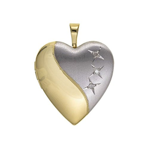 Designer Inspirations Boutique ® 20MM Two-Tone (Half-Satin Silver & Half-Gold Plated) 3-Stone Diamond Set Sterling Silver Heart Locket On 18