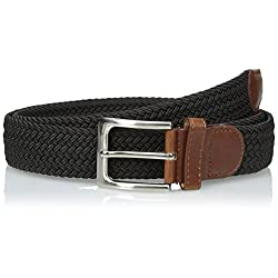 CTM® Mens Elastic Braided Stretch Belt with Silver Buckle and Tan Tabs
