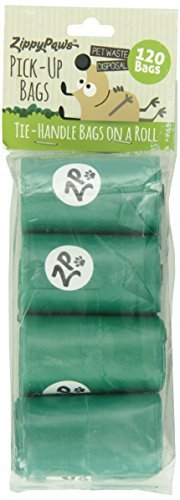 ZippyPaws Dog Poop Waste Pick-Up Bags on Rolls, 120-count (8 Rolls), Green Unscented (Bags Pooch Pickup)