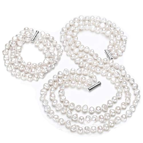 - TreasureBay Womens Beautiful 7-8Mm Natural Baroque Pearl Multi Strand Tri-Set Necklace, Bracelet And Earrings, Pearl Set (White)