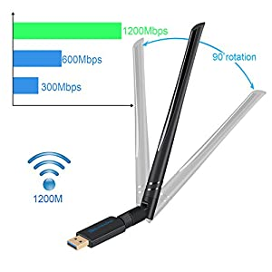 1200Mbps Wireless USB Wifi Adapter - AC1200 Dual Band 2.4GHz/300Mbps + 5GHz/867Mbps Mini Wi-fi AC Wireless Network Card Dongle with High Gain Antenna For Desktop Laptop PC Support Windows XP Vista/7/8