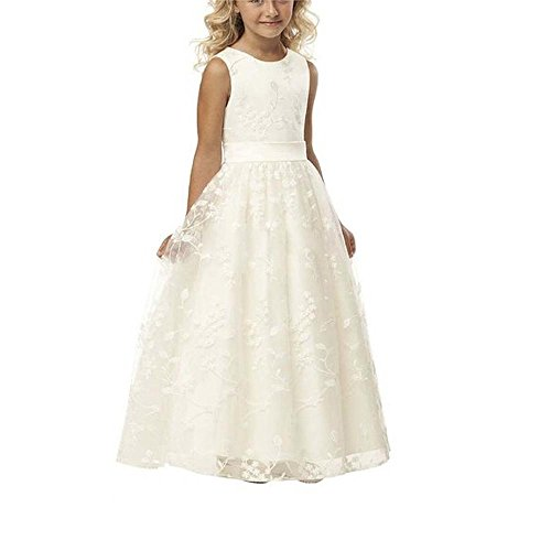 A line Wedding Pageant Lace Flower Girl Dress with Belt 2-12 Year Old (Size 10, Ivory)