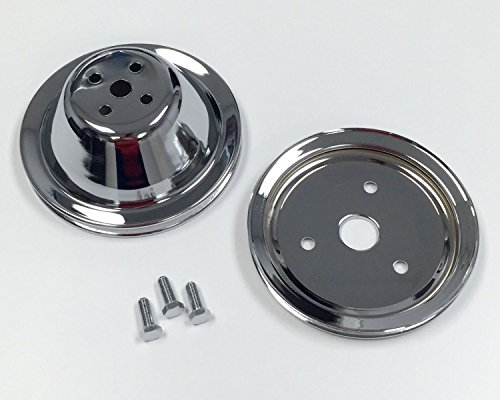 SB Chevy Short Water Pump Chrome Steel 1 Groove Pulley Kit 283 327 350 (Chevy Short Pump)