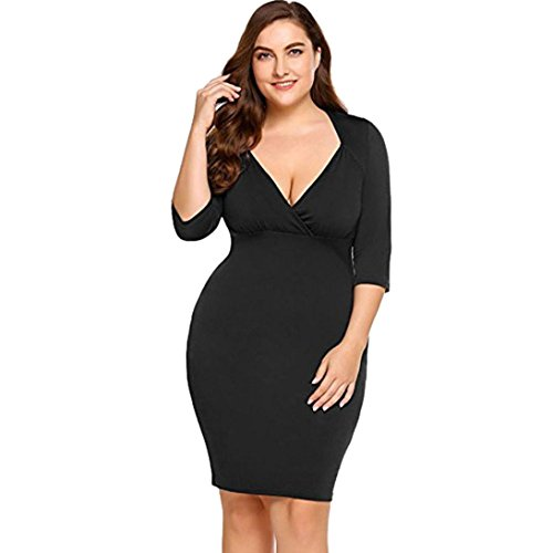 HODOD Women's Plus Size Solid V Neck Knee Length 3/4 Sleeve Wedding Dress Sleeveless Cocktail Party ()