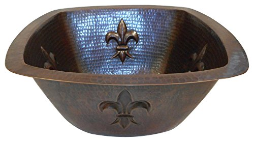 SimplyCopper 15'' Square Copper Bar Prep Sink with Fleur de Lis Design -- 2'' Drainhole