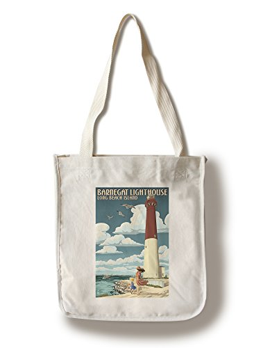 Lantern Press Long Beach Island, New Jersey - Barnegat Lighthouse (100% Cotton Tote Bag - Reusable) ()