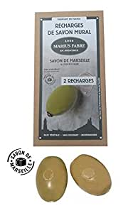 Marius Fabre Olive Oil Marseilles Soap Refills for Wall-Mount Rotating Holder (2x290g,2x10.2oz)