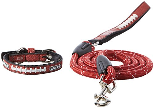 GameWear NFL New York Jets Pebble Grain Toy Football Collar & Medium Leash Gift Pack, One Size, Brown