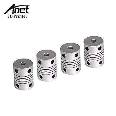 Aibecy Anet 3D Printer Flexible Coupling Shaft Coupler 5mm to 8mm Inner Diameter CNC Motor Jaw Shaft Couplers 3D Printer Accessory for RepRap Anet A8 A6 Ender 3 3D Printer CNC Machine(Pack of 4Pcs)
