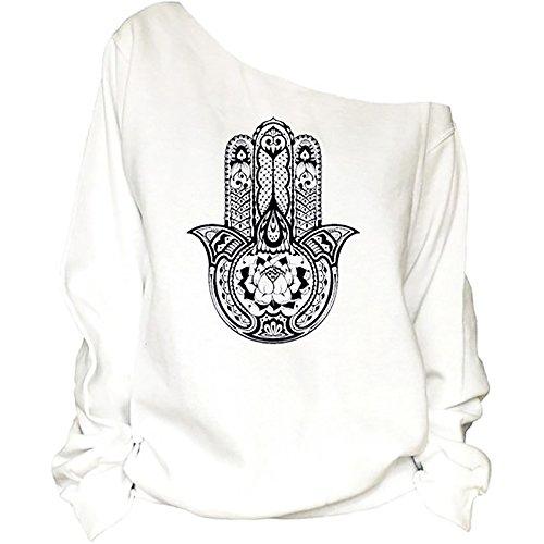 QZUnique Women's Digital Print Long Sleeve Strapless Pullover Fleece Sweatshirt Palm - Products Online Women