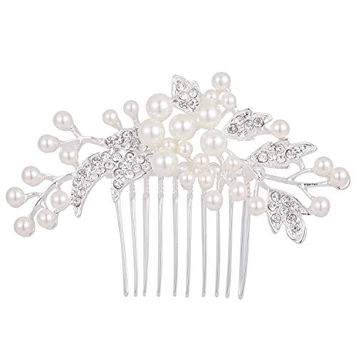 - Stylebar Wedding Hair Comb White Simulatd Pearl Bridal Leaf Vine Hair Accessories for Brides and Bridesmaids Women Silver-Tone Clear Austrian Crystal