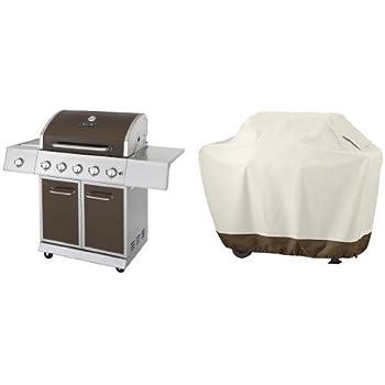 Dyna-Glo DGE Series Propane Grill, 5 Burner, Bronze & AmazonBasics Grill Cover - Medium