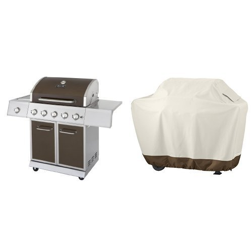 Dyna-Glo DGE Series Propane Grill, 5 Burner, Bronze & AmazonBasics Grill Cover - Medium by DYNA-GLO